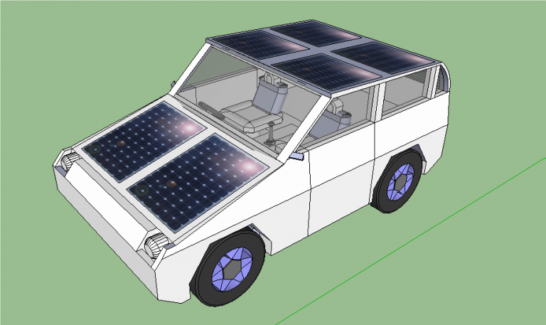 final configuration of the setup of the solar panels on the car