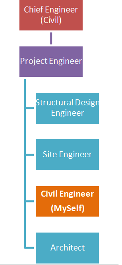 the organizational structure for the engineering project at the time
